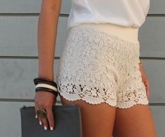 lacey love these shorts Cute Fashion, Spring Fashion, Fashion Outfits, Womens Fashion, Fashion Dolls, Mode Lookbook, Fashion Lookbook, White Lace Shorts, Fashion Gallery