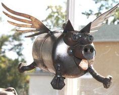 $36.95 Small metal pig #recycledmetalart #recycledgift #reinspirationstore