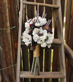 lavender, anemones, grapes, silk bouquet, rustic bouquet, vineyard wedding, italian wedding, purple and white bouquet, real touch bouquet, vineyard bouquet, tuscany wedding, Fall, Spring, Summer, Winter