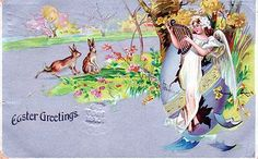 Easter Angel Vintage Postcard circa 1907