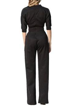 Black Slanted One Shoulder Wide Leg Formal Jumpsuit
