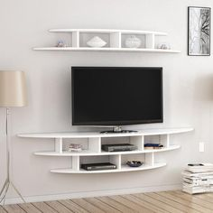unit design Living Areas Alvino Wall Mounted TV Unit Freestanding White Mode… – Wall units – Home Decor Wall Mount Tv Shelf, Wall Mounted Tv Unit, Mounted Tv Decor, Mounting Tv On Wall, Wall Shelves, Tv Unit Decor, Tv Wall Decor, Tv Cabinet Design, Tv Wall Design
