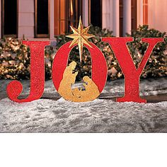 Inspirational Christmas Large 4 Ft Outdoor Joy Nativity Yard Decor New