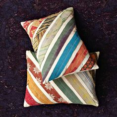 KANTHA DIAGONAL STRIPE PILLOW COVER