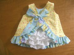 Baby Ruffle Dress and Diaper Cover Reversible. $62.00, via Etsy.