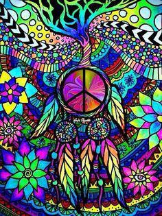 Peace Sign Art by Jayne Reynolds Paz Hippie, Hippie Peace, Happy Hippie, Hippie Love, Hippie Trippy, Peace Sign Art, Peace Signs, Peace Poster, Hippie Painting