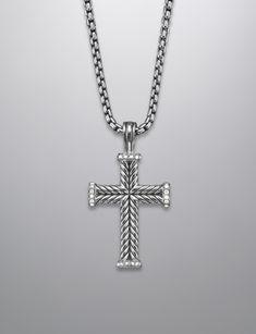 David Yurman Pave Diamond Chevron Cross Necklace at Brown & Co. Jewelers