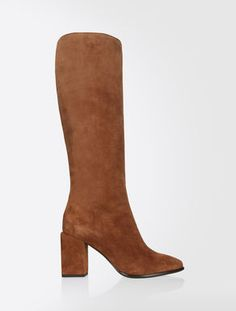 Max Mara PACCHE cuoio: Fitted boot in pelle scamosciata. Max Mara, Fashion 2017, New Trends, Suede Leather, Heeled Boots, Loafers, Slip On, Booty, Heels