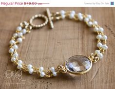 MOTHERS DAY SALE Gold White Freshwater Pearls and Crystal Quartz Bracelet - Toggle Bracelet - Bridal Bracelet