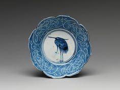 Deep Dish with Egret Design  Period: Edo period (1615–1868) Date: 1639 Culture: Japan Medium: Porcelain with underglaze blue (Hizen ware) Dimensions: H. 1 3/4 in. (4.4 cm); Diam. 6 in. (15.2 cm) Classification: Ceramic