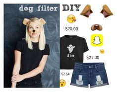 """under $50 snapchat filter costume"" by zmoda ❤ liked on Polyvore featuring Topshop and Monki"