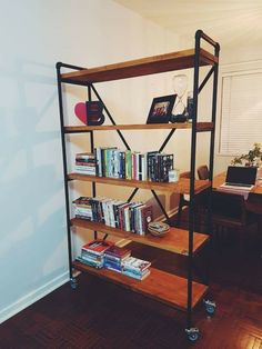 Sami decor and design, Kempton Park, Gauteng. Custom made steel, wood and galv pipe furniture for home and business. Wood Shelving Units, Industrial Shelving, Wood Shelves, Display Shelves, Industrial Style Furniture, Wood Furniture, Kempton Park, Handmade Furniture, Wood Projects