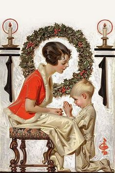 A little boy prays. However, since it's Christmas time, it's probably about the toys. Illustration used as a magazine cover.