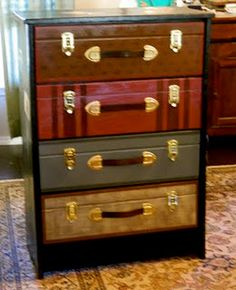Dresser painted to look like stacked suitcases: use a specialty router bit to create the groove to make the fronts of the drawers look like two separate pieces like luggage, then hand paint the fronts to look like leather or canvas luggage, attach clasps to look like they really open, then add handles made from stirrup leathers.