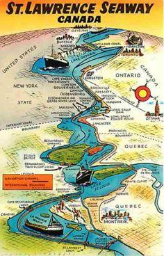 St Lawrence Seaway Quebec Ontario Canada 1950s Seaway Map Vintage Postcard