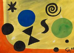 Alexander Calder, Green Cheese, 1963. Gouache and india ink on paper, 12 3/8 x 16 7/8 inches (31.5 x 42.8 cm)