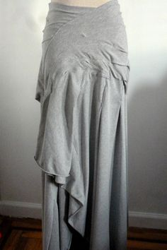 Gray long cotton lycra skirt with stitches by Cheryldine on Etsy
