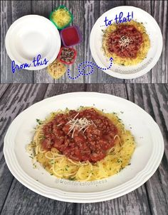 From This To That: Pasta Hack! Mix your pasta with roasted spaghetti squash to get more veggies into your belly. Top with whatever fixins float your boat. Sautéed onions, mushrooms, meat sauce or get really crazy and top with two...