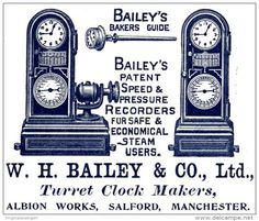Original - Anzeige / Advertise 1903 : (ENGLISH) BAILEY´S BAKER'S GUIDE / SPEED & PRESSURE RECORDERS- 60 x 45 mm