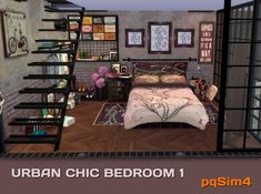 Urban Chic bedroom 1 by Mary Jiménez at pqSims4 via Sims 4 Updates