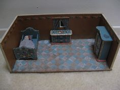 For sale: old dollhouse / bedroom from the 50s, Dora Kuhn... #Bedroom