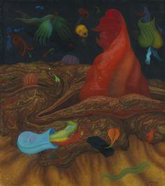 Brauer Arik  1929 Wien - lebt und arbeitet in Paris, Wien und Ein Hod/Israel  Plastikspeiender Berg. 1970.  Oil on paper, laid on wood. Berg, Art Auction, Printmaking, Surrealism, Israel, Artists, Fantasy, Paris, Drawings
