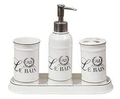 Set da bagno in ceramica Le Bain bianco, 4 pz