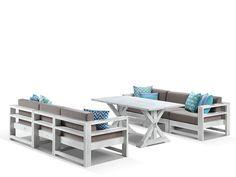 Vogue aluminium 7pc outdoor modular casual dining setting | Outdoor Dining