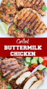 Chicken Breast marinated in Buttermilk garlic herb spice marinade and grilled to perfection. This Easy Grilled Chicken Breast With Buttermilk Marinade is super moist and Juicy.Best for a quick weeknight dinner or for summer barbecues. Marinated Grilled Chicken, Grilled Chicken Recipes, Easy Chicken Recipes, Buttermilk Chicken Marinade, Best Grilled Chicken Marinade, Grilling Chicken, Vegetarian Grilling, Quick Marinade For Chicken, Grilled Food