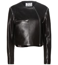 Acne Studios - Marrau cropped black leather jacket - Acne presents a sophisticated take on the classic biker jacket with the Marrau style. This black leather design features rebellious zippers for an unmistakably modern look. Wear yours either with a long patterned dress or skinny jeans for a rock'n'roll look. seen @ www.mytheresa.com