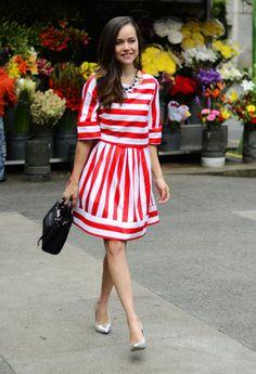 """Red striped dress"""