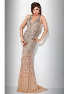 Symphony V-neck Trumpet Sleeveless Sequined Brush Train Prom Dresses - Wedding Dresses