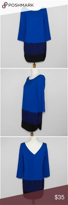 Express Color Block Ombre Shift Dress This item is used. It's a blue color block dress designed with an ombre effect and long sleeves. That bottom color is black. The back is slightly exposed down to the shoulder blades in a v shape.  ** Details ** - Small - Blue | Navy | Black - Color Block | Ombre - Long Sleeve - Shell: 96% Polyester | 4% Spandex - Lining: 97% Polyester | 3% Spandex Express Dresses Long Sleeve