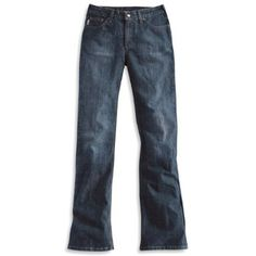 Carhartt women's traditional fit boot cut jeans - They fit curvy girls really well. They run slightly large. Don't get the curvy version they're way too big.