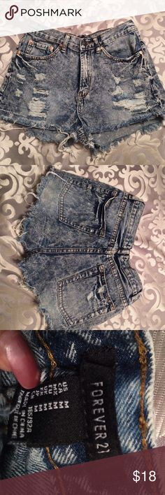 High waisted jean shorts Never worn, only tried on. I'm perfect condition. Price is negotiable Forever 21 Shorts Jean Shorts