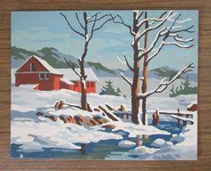 Winter Scene 40K Craft Master 1963 Mid Century Vintage Paint by Number PBN Unframed Painting AtomicPutz.com