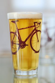 Screen prints on glasses... that are also great for beer  ... This fun glass has inspired me to try making one of my own!