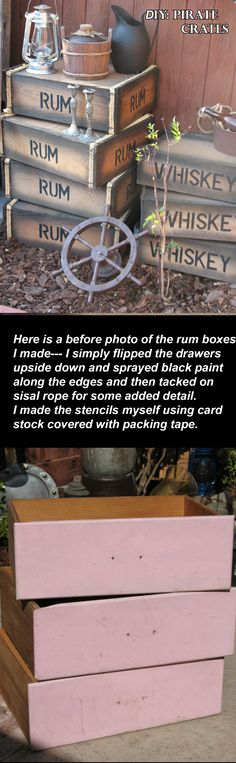DIY: Pirate Crates from old, discarded drawers. Pirate's Nightmare in the Caribbean Halloween Party Decorations & Ideas