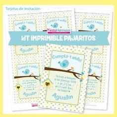 Kit Imprimible Pajaritos Celeste, Bautismo, Baby Shower