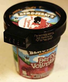Ben and Jerry's offers a combination lock to keep people out of your ice cream... LOVE. Poutine, Pots, Combination Locks, Ben And Jerrys Ice Cream, Clever Inventions, Crazy Inventions, Cool Stuff, Stuff To Buy, Funny Stuff