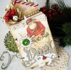 Christmas Mini Album / Scrapbook Album / Noel Shabby Chic Handmade Album / Christmas Photo Album / Handmade Album / Chipboard Album / Santa