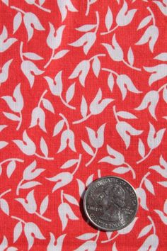 vintage 36w cotton quilting fabric, red & white tulips tiny flowers print