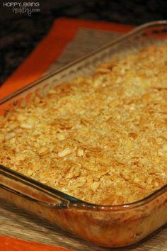 "Healthier ""Funeral Potatoes"", aka cheesy potato casserole. #comfortfood www.happybeinghealthy.com"