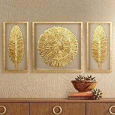 Golden Feathers 31 High Wall Art Set of 3 -New ideas for painting oleo abstract wallpaperA set of three complementing pieces of wall art with a beautiful gold finish feathers and neutral backing tones. Square wall art is 31 wide and 31 high. Feather Wall Art, Metal Tree Wall Art, Diy Wall Art, Wall Art Sets, Framed Wall Art, Wall Art Decor, Canvas Wall Art, Gold Wall Art, Gold Wall Decor