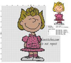 Sally Brown Peanuts cartoons character free cross stitch pattern