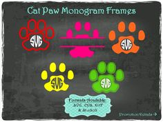 Cat Paws Monogram Frames in .SVG .EPS .DXF & .Studio3 formats Craft Cut Die Cutters Digital Vector Files Instant Download by TheSVGFontStore on Etsy