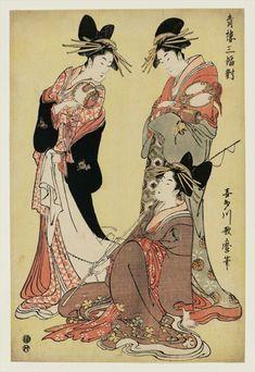 喜多川歌麿 Utamaro Kitagawa『晴楼三幅対』