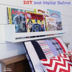 DIY Book Display Wall Shelves {PB Collectors Shelves Knockoff} at The Happy Housie