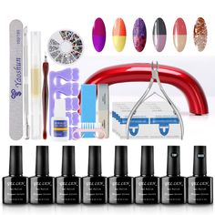 Gellen Starter Kit Temperature Color Changing Series Nail Gel Polish 6 Colors   Top and Base Coats   9W Nail Led Lamp   Nail Art Manicure Tools of 31pcs Kit -24 *** Read more at the image link.