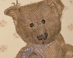 Primitive Burlap Teddy Bear  Elijah   Handmade  by aprimitiveplace, available for adoption on Etsy.
